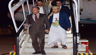 الوفد3 الوفد الوطني يصل إلى العاصمة العمانية مسقط في طريق عودته إلى صنعاء