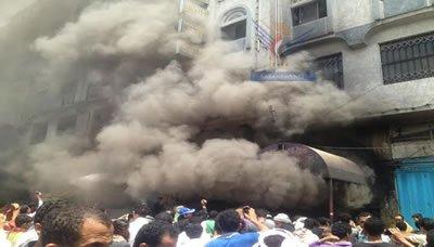 حريق العثور على جثة متفحمة و20 حالة اختناق ونحو 200 مليون خسائر جراء حريق في تعز