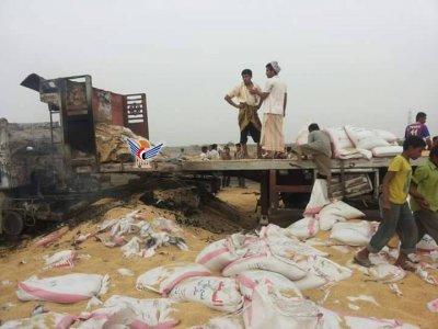 حيس استشهاد ثلاثة مواطنين وإصابة تسعة آخرين في قصف على قاطرات مواد غذائية