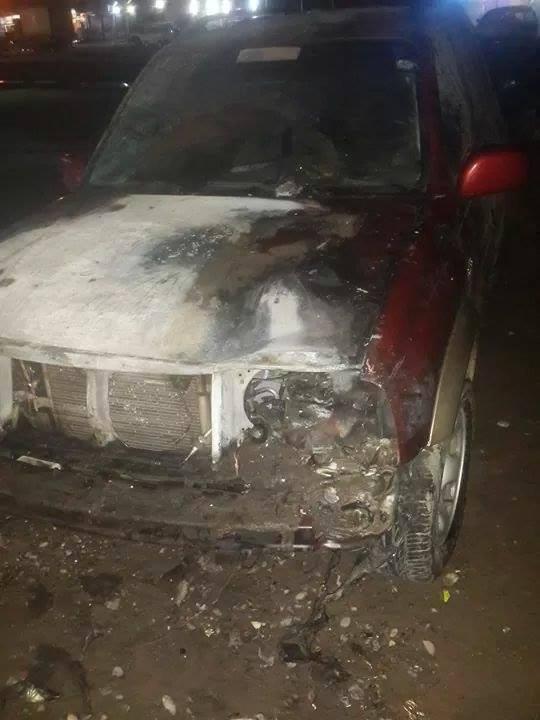 سياره الحديدة: احراق سيارة  رئيس منظمة تحدي للحقوق والحريات من قبل مجهولين