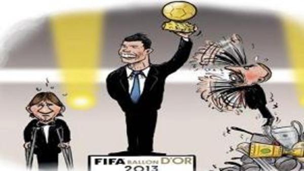 كاريكتير كاريكاتير يسخر من فوز رونالدو بالكرة الذهبية