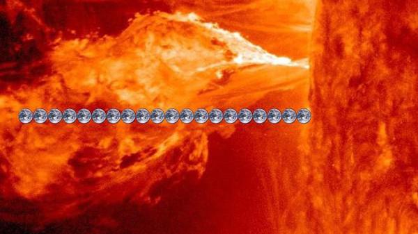 نار2 لهيب بطول 20 كرة أرضية قذفته الشمس جعل الشتاء صيفاً