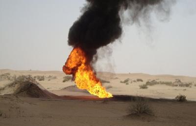 78 اعتداء تخريبي جديد على أنبوب النفط بمأرب